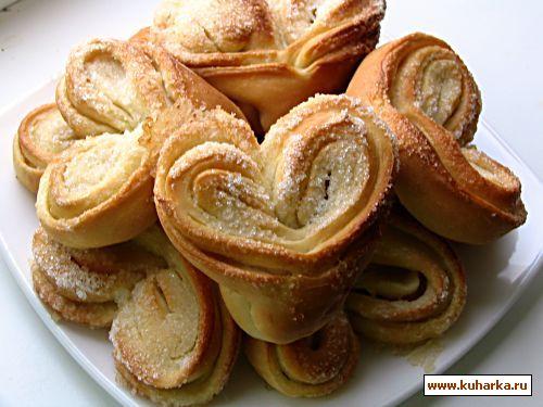 Булочки сердечки с сахаром рецепт с фото