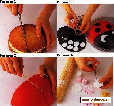 как приготовить торт божья коровка из мастики