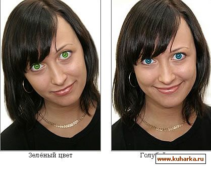 Глаза Нади с помощью 4-х самых популярных цвета линз голубой, зеленый,