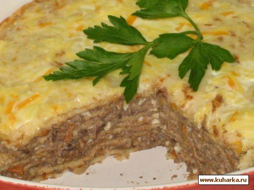 Блинный пирог с печенью рецепт