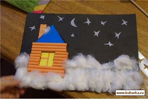 Как сделать ватный домик
