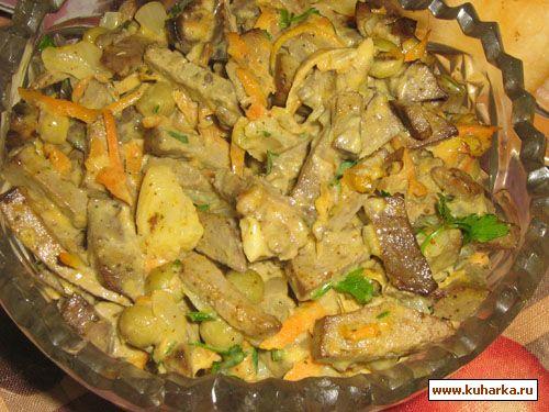 Салат из куриной печени с корейской морковью