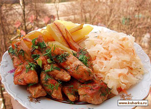 Рецепт Поджарка из свинины на сковороде