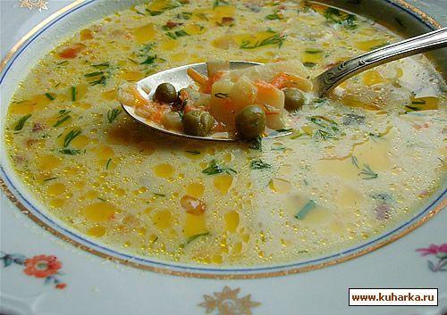 Рецепт Сырный суп с зелёным горошком