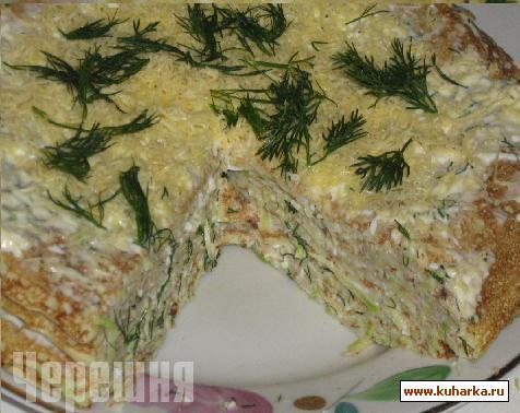 Рецепт Кабачковый блинный торт