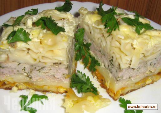 Рецепт Мясная запеканка с макаронами.