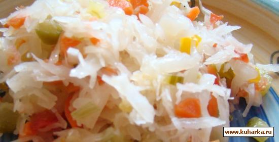 Рецепт Капуста квашеная с чесноком и овощами без соли и уксуса