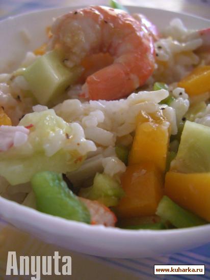 Рецепт Тёплый рисовый салат с креветками (Ensalada tibia de arroz con langostinos)