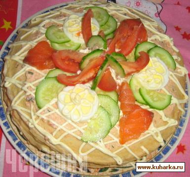 Рецепт Блинный торт с семгой