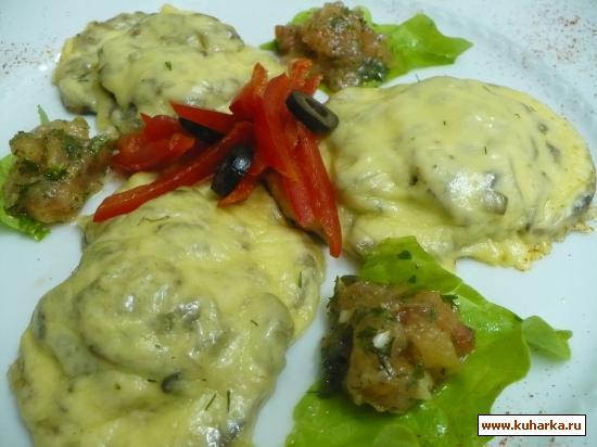 Рецепт Язык, запеченый с грибами и сыром