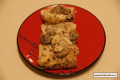 Рецепт Макароны фаршированные куриным фаршем с грибами