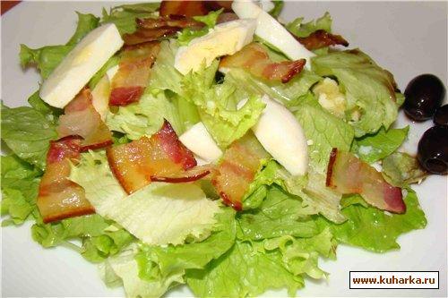 Рецепт Зеленый салат с беконом