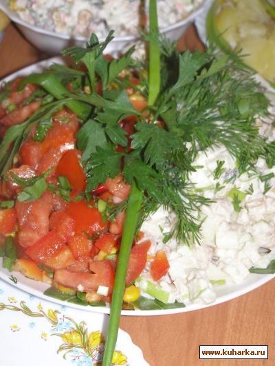 Рецепт Деревенский салат с рубленной сельдью
