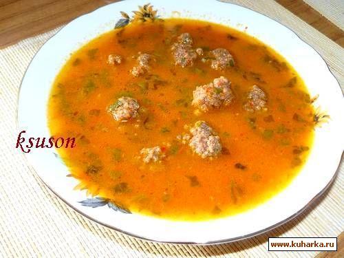 Рецепт Морковный суп с фрикадельками и болгарским перцем