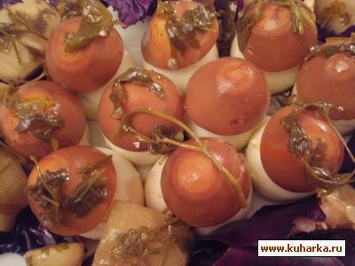 Рецепт Яйца с начинкой из грибов и горошка