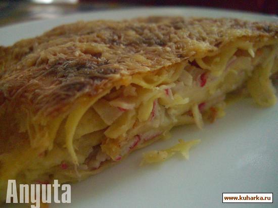 Рецепт Лазанья с креветками и крабовыми палочками