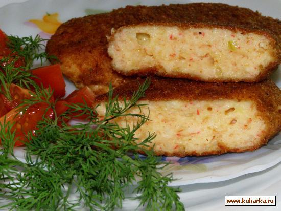 Рецепт Котлеты из крабовых палочек и куриного филе
