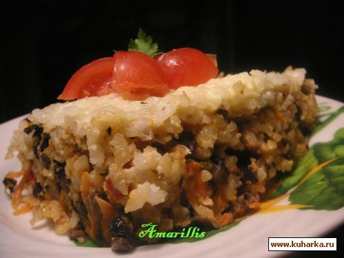 Рецепт Рисово-грибная запеканка-пирог