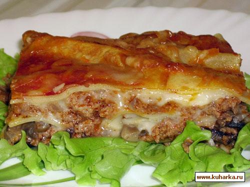 Рецепт Мясная лазанья с грибным соусом