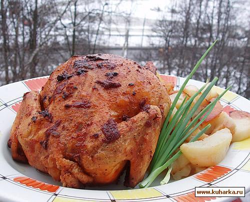 Рецепт Запеченная курица с жареным картофелем