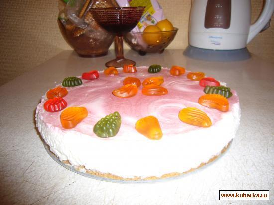 Рецепт Клубничный мраморный торт