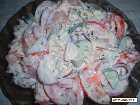 Рецепт Салат из свежих овощей с сыром
