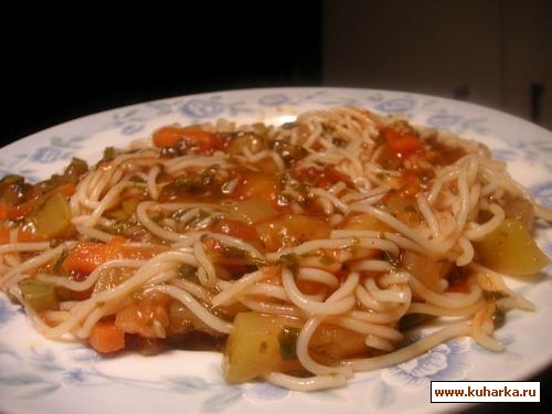 Рецепт Спагетти в овощном соусе со щавелем
