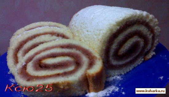 Рецепт Бисквитный малиновый рулет