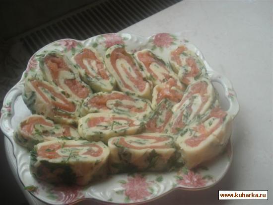 Рецепт Сырный рулет с семгой