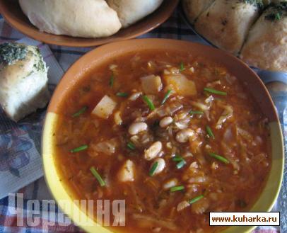Рецепт Постный борщ с фасолью