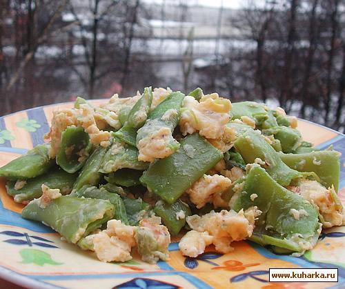 Рецепт Зелёный лоби с яйцами