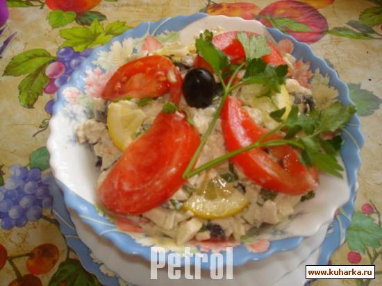 Рецепт Салат с кальмарами и куриным мясом