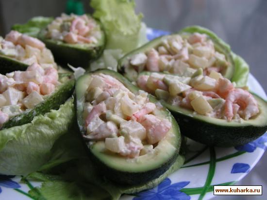 Рецепт Лодочки из авокадо с креветками и ананасом
