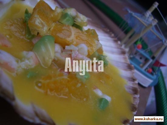 Рецепт Салат из авокадо, апельсина и креветок с мандариновым соусом
