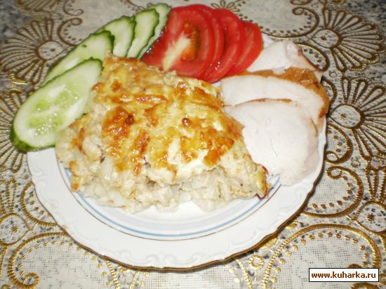 Рецепт Цветная капуста запеченная в сливочном соусе с хреном