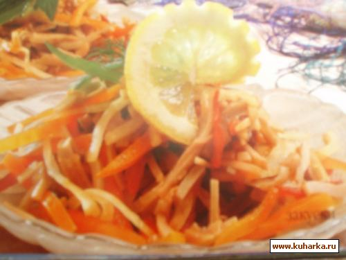 Рецепт Кальмары с маринованным луком и сладким стручковым перцем