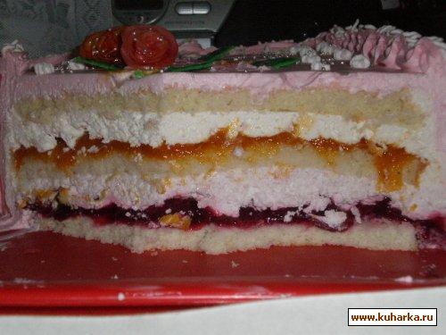 Бисквитный торт с малиновой прослойкой