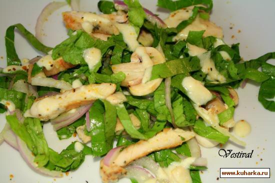 Рецепт Зеленый салат с шампиньонами и куриным филе
