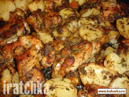 Рецепт Курица, запеченная с картошкой и помидорками