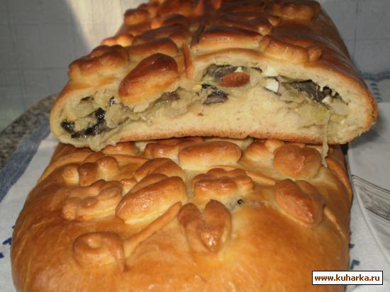Рецепт Кулебяка с капустой и грибами