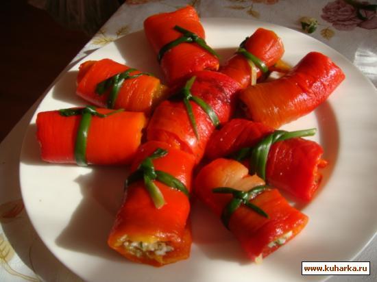 Рецепт Закуска из красного перца с сыром