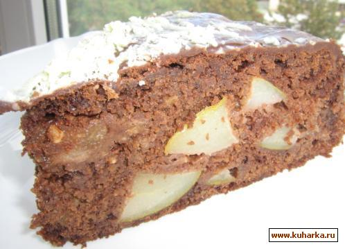 Рецепт Фруктовый пирог с какао и орехами