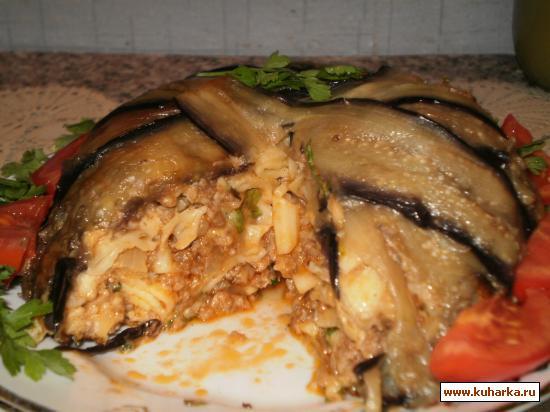 Рецепт Баклажановый купол с мясом и макаронами