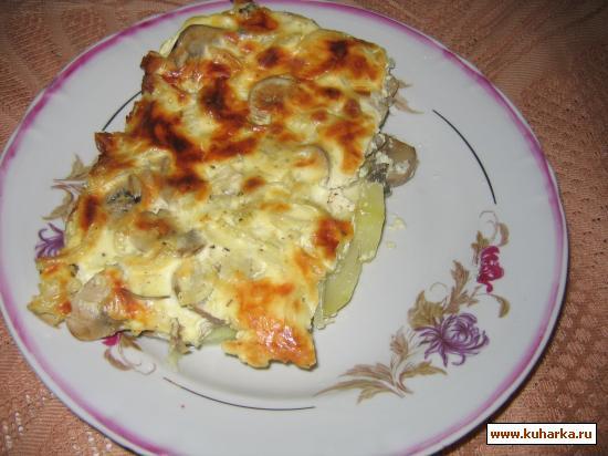 Рецепт Запеканка из кабачков с грибами