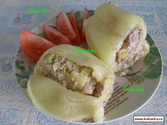 Рецепт Фаршированный перец на пару с кабачком и ананасом