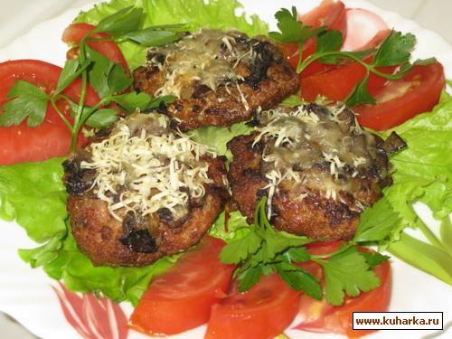 Рецепт Котлеты запечённые с грибами и сыром