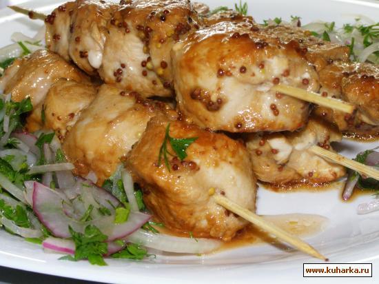 Рецепт Куриный шашлык на шпажках.