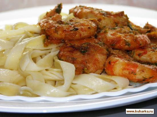 Рецепт Креветки с макаронами