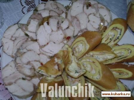 Рецепт Омлетные рулетики и рулетики из куриного мяса