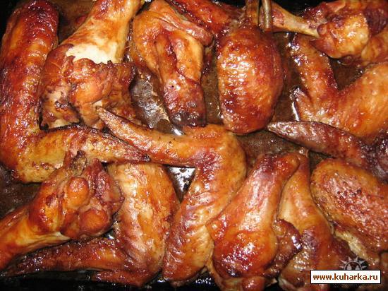 Рецепт Куриные крылышки в соевом соусе и кетчупе...